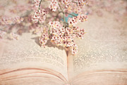 Shabby Chic Flowers Prints - The Old Book Print by Viaina