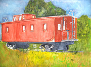 Old Caboose Painting Posters - The Old Caboose Poster by Sandy McIntire