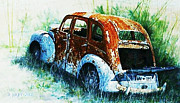 Abondoned Posters - The  Old  Car Poster by Hartmut Jager