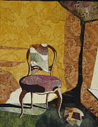 Fabric Collage Tapestries Textiles Prints - The Old Chair Print by Lynda K Boardman