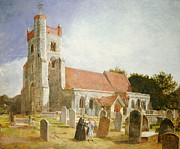 Surrey Metal Prints - The Old Church Metal Print by William Holman Hunt