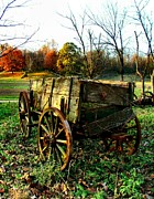 Indiana Autumn Metal Prints - The Old Conestoga Metal Print by Julie Dant
