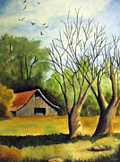 Old Barn Paintings - The Old Country Barn by Zelma Hensel