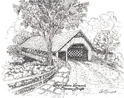 Covered Bridge Mixed Media Prints - The Old Creamery Bridge Brattleboro VT Pen Ink Print by Carol Wisniewski