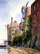 Fathers Paintings - The Old Docks - Rotherhithe London by Bill Holkham