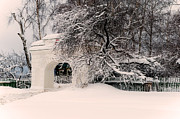 Snow Flakes Prints - The Old Entrance to the Homestead Karabicha. Russia Print by Jenny Rainbow