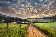 Farm Scenes Posters - The Old Farm Lane Poster by Debra and Dave Vanderlaan
