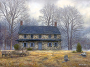 Colonial Posters - The Old Farmhouse Poster by Chuck Pinson