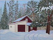 Winter Scene Paintings - The Old Farmhouse in Winter by Ann Laase Bailey