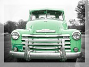 1950s Photo Framed Prints - The Old Green Chevy Pickup Truck Framed Print by Edward Fielding