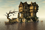 Unreal Framed Prints - The Old House on The Sea Framed Print by Liam Liberty