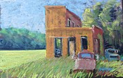 Trucks Pastels - The Old Interurban Power Station and Stuff by Tim  Swagerle