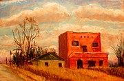 Buildings Pastels - The Old Interurban Power Station by Tim  Swagerle