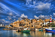Sunset Light Posters - the old Jaffa port Poster by Ron Shoshani