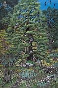 Chipmunks Paintings - The Old Juniper Tree by Jennifer Lake
