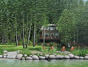 Cabin Painting Prints - The Old Lawg Caybun On Lake Joe Print by Kenneth M  Kirsch