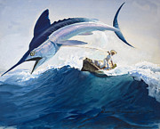Fishing Painting Prints - The Old Man and the Sea Print by Harry G Seabright