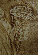 Portrait Pyrography Metal Prints - The Old Man Metal Print by Raz Mohammad Amir