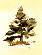 Oak Tree Paintings - The Old Oak Tree by Paul Gaj