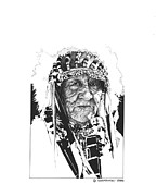 Native Chief Drawings - The Old One by Paul Shafranski