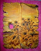 Torn Painting Framed Prints - The Old Parchment and Sunflowers Framed Print by Adhijit Bhakta