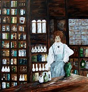 Medicine Painting Prints - The Old Pharmacy ... Medicine in the Making Print by Eloise Schneider