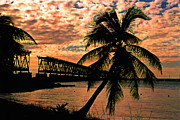 Mile Road Posters - The Old Rail Road Bridge in the Florida Keys Poster by Susanne Van Hulst