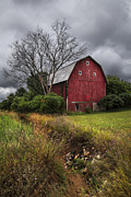 Autumn Scenes Metal Prints - The Old Red Barn Metal Print by Debra and Dave Vanderlaan