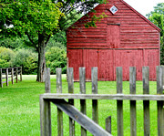 Painted Wood Digital Art Prints - The Old Red Barn Print by Laura  Fasulo