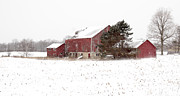 Red Barn In Winter Photos - The old red barn by Nick Mares