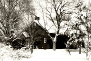 Rural Snow Scenes Framed Prints - The Old Red House Framed Print by Heather Allen