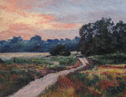 Dirt Road Paintings - The Old Road at Sunset by Gregory Arnett