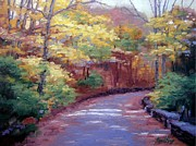 Warner Park In Nashville Painting Prints - The Old Roadway in Autumn Print by Janet King