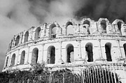 Ancient Rome Art - The Old Roman Colloseum Against Blue Cloudy Sky El Jem Tunisia by Joe Fox