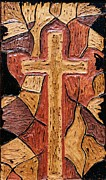 Primitive Pyrography Prints - The old rugged cross Print by Lisa Brandel
