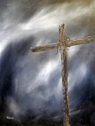 Crucifix Art Painting Metal Prints - The Old Rugged Cross Metal Print by Sharon Burger