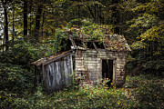 Abandoned Prints - The old shack in the woods - Autumn at Long Pond Ironworks State Park Print by Gary Heller