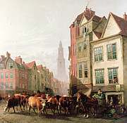 Cows Paintings - The Old Smithfield Market by Thomas Sidney Cooper