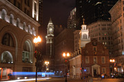 Night Scenes Prints - The Old State House an the Custom House Print by Joann Vitali