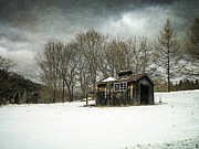 Winter Storm Photo Acrylic Prints - The Old Sugar Shack Acrylic Print by Edward Fielding