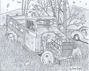 Gerald Griffin Art - The Old Texaco Gas Truck by Gerald Griffin