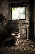 Hdr Framed Prints - The Old Thinking Room - Abandoned Restroom And Toilet Framed Print by Gary Heller