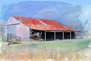 American West Digital Art Prints - The Old Tin Barn Print by Betty LaRue