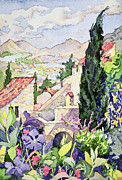 Flowering Trees Prints - The Old Town Vaison Print by Julia Gibson