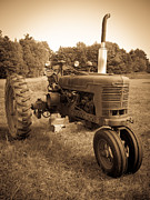 Sepia Metal Prints - The Old Tractor Metal Print by Edward Fielding
