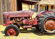 Shed Painting Posters - The Old Tractor Poster by Michael Pickett