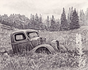 Junk Drawings - The Old Truck at Rest by Diane Bay