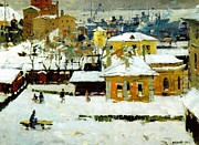 Winter Scenes Mixed Media Metal Prints - The Old Vladivostok   Vintage Prints Metal Print by Jake Hartz