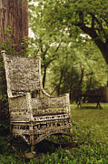 Wicker Furniture Posters - The Old Wicker Rocker Poster by Margie Hurwich