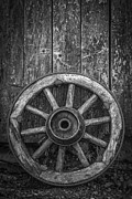 Round Framed Prints - The Old Wooden Wheel Framed Print by Erik Brede